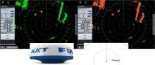 Mar Abierto - A la izquierda, con el Target Analyzer en ON, el Furuno NXT señala