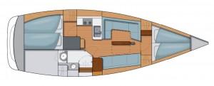 Mar Abierto - Distribución estándar con dos camarotes dobles y un salón que perm