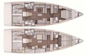 Mar Abierto - Cuatro versiones de interior para el Dufour 530, con distribucione