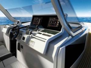 Mar Abierto - Imponente aspecto de la consola de pilotaje, con los relojes enras