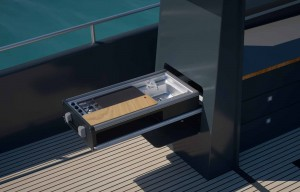 Mar Abierto - La cocina Dometic se esconde cuando no está en uso, aprovechando m