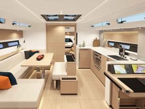 Mar Abierto Interiores sobrios y funcionales en el nuevo Hanse 460. La gran mesa