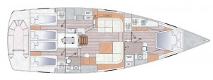 Mar Abierto La disposición de tres cabinas, habitual en veleros de gran serie de