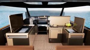 Mar Abierto La cocina exterior de la Fjord 53XL es todo un lujo, con doble muebl