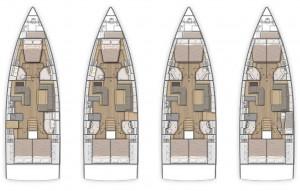 Mar Abierto - Distribuciones de 3 a 5 cabinas dobles en una decoración firmada p