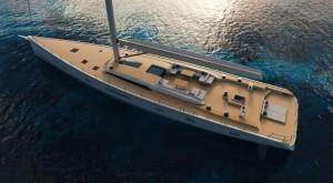 Mar Abierto - Líneas de agua modernas y doble pala de timón en un velero que asp